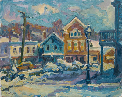 CAT# 1192  Chester Center after the Snow - Sunny Morning  oil	16 x 20	inches Leif Nilsson Winter 1993 ©