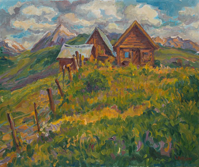 CAT# 1279  Barns at Crested Butte - morning  oil 20 x 24 inches Leif Nilsson Summer 1993 ©