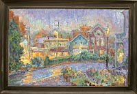 CAT# 1324  Chester Center - Rainy Dusk with Flower Boxes  oil 24 x 37 inches Leif Nilsson Autumn 1993 ©
