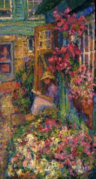 CAT# 1340  The Studio in Bloom with Katherine  oil 30 x 16 inches Leif Nilsson Summer 1993 ©