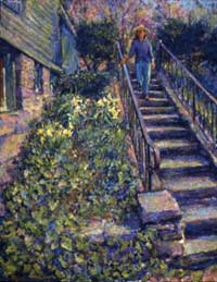 CAT# 1467  Up the Stairs with Katherine  oil 38 x 30 inches Leif Nilsson Spring 1994 ©
