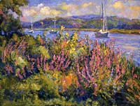 CAT# 1535  North Cove with Loosestrife  oil 30 x 40  Leif Nilsson summer1995 ©