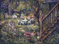 CAT# 1652  Backyard with Stairs  oil 30 x 40 inches  Leif Nilsson Summer 1996 ©