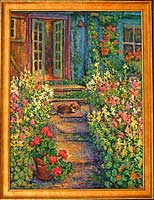 CAT# 1768  Path to the Studio with Snapdragons and Calisimo  oil 54 x 40  Leif Nilsson summer 1997 ©  Price