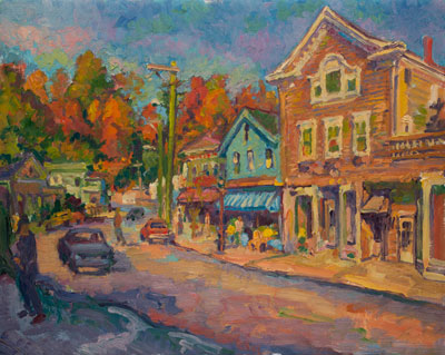 CAT# 1829  Chester Center from Main Street - Autumn  oil 24 x 30  Leif Nilsson 1995 ©