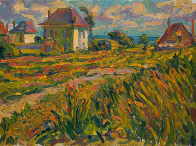 CAT# 1848	 White House, Windy Field - France	 oil	20 x 24	inches Leif Nilsson summer 1992 ©