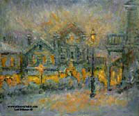 CAT# 1880  Chester Center - Snowy Night  oil 30 x 36 inches Leif Nilsson Winter 1997 ©
