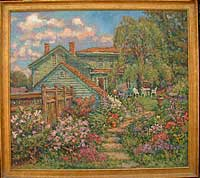 CAT# 1909  Backyard, spring afternoon  oil 48 x 54 inches Leif Nilsson spring 1998 ©