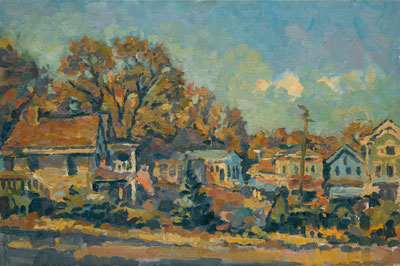 CAT# 1969	 Chester Center - autumn afternoon	 oil	16 x 24	inches Leif Nilsson autumn 1998	©