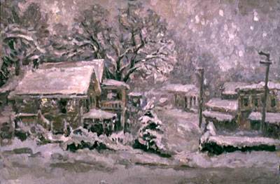 CAT# 2231  Chester Center - snowing  oil 20 x 30 inches Leif Nilsson Winter 2001 ©