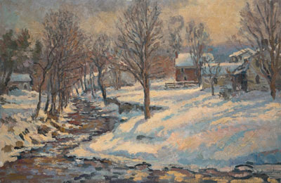 CAT# 2233  Great Brook - Winter Morning oil 20 x 30 inches Leif Nilsson Winter 2001 ©