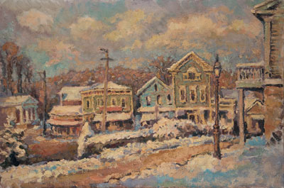 CAT# 2237  Chester Center - January afternoon  oil 20 x 30 inches Leif Nilsson Winter 2001 ©