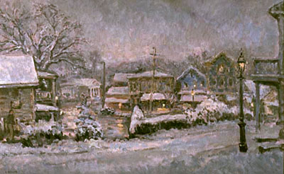 CAT# 2252  Chester Center - First snow of the millenium  oil 30 x 48 inches Leif Nilsson Winter 2001 ©