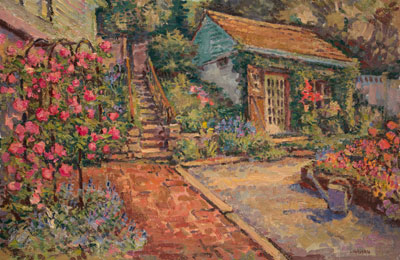 CAT# 2294  The Studio with Roses  oil 20 x 30 inches Leif Nilsson spring 2001 ©