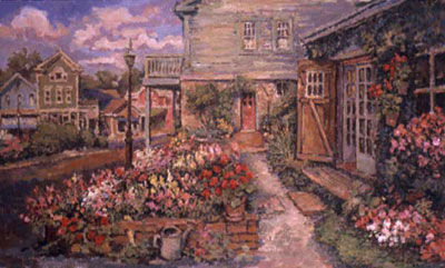 CAT# 2369  Path to the Studio with Geraniums  oil 24 x 40 inches Leif Nilsson Autumn 2001 ©