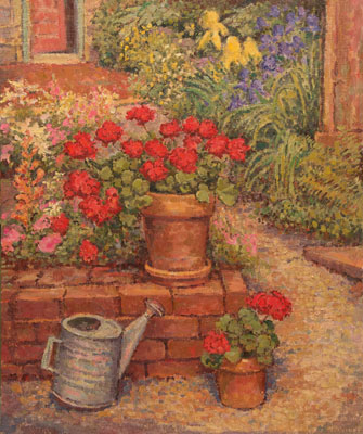 CAT# 2403  Geranium and Watering Can  oil 36 x 30 inches Leif Nilsson Summer 2002 ©