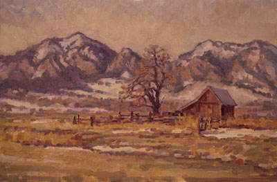 CAT# 2489  South Boulder Creek Barn II  oil 16 x 24 inches Leif Nilsson winter 2003 ©
