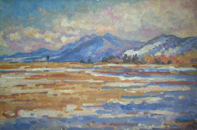 CAT# 2490  Rocky Mountains from Nelson Drive  oil 16 x 24 inches Leif Nilsson winter 2003 ©