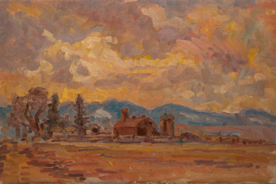 CAT# 2492  Old Foothills Farm  oil 16 x 24 inches Leif Nilsson winter 2003 ©
