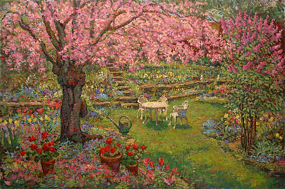 CAT# 2625 Backyard Garden with Flowering Cherry Tree oil 36 x 54 Leif Nilsson summer 2003 ©