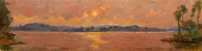 CAT# 2668  The Connecticut River from Selden's Island  oil 12 x 48 inches Leif Nilsson summer 2004 ©