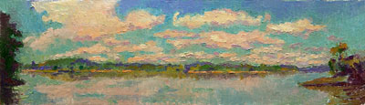 CAT# 2675  The Connecticut River from Selden's Island - morning  oil 7 x 27 inches Leif Nilsson summer 2004 ©