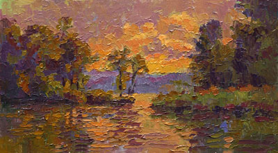CAT# 2697  Selden's Creek - End of Day  oil 7 x 13 inches Leif Nilsson autumn 2004 ©