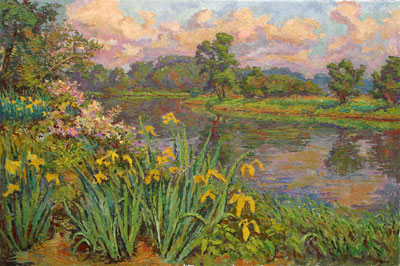 CAT# 2721 Wild Yellow Flag Iris's on Selden's Creek - Morning  oil 36 x 54 inches Leif Nilsson spring 2005 ©
