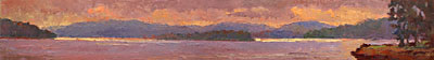 CAT# 2726  Eustasia Island from Chester Marina - morning  oil 9 x 63 inches Leif Nilsson summer 2005 ©