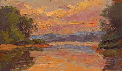 CAT# 2732  Selden's Creek - end of day  oil 6 x 10 inches Leif Nilsson summer 2005 ©