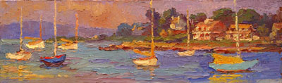 CAT# 2733  Watch Hill Harbour  oil 6 x 20 inches Leif Nilsson summer 2005 ©