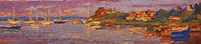 CAT# 2734  Watch Hill Harbour  oil 6 x 27 inches Leif Nilsson summer 2005 ©
