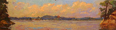 CAT# 2744  Deep River from Selden's Island  oil 12 x 48 inches Leif Nilsson summer 2005 ©