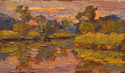 CAT# 2745 Selden's Creek - end of day oil paint on panel 6 x 9 inches Leif Nilsson summer 2005 ©