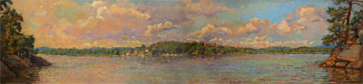 CAT# 2751  Deep River from Selden's Island  oil 24 x 96 inches Leif Nilsson summer 2005 ©