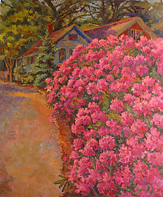 CAT# 2753  Up Spring Street with Rhododendrons  oil 48 x 40  Leif Nilsson spring 2005 ©