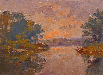 CAT# 2767  Selden's Creek - end of day  oil 9 x 12 inches Leif Nilsson autumn 2005 ©