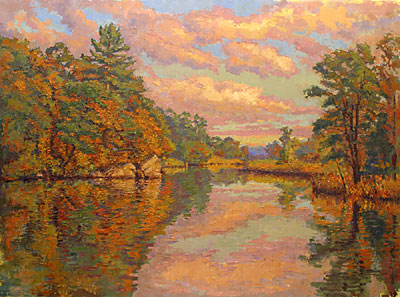 CAT# 2769  Selden's Creek - Autumn Afternoon  oil 40 x 54 inches Leif Nilsson autumn 2005 ©