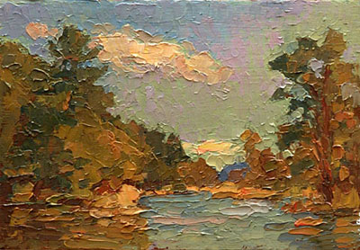 CAT# 2769a  Selden's Creek - end of day  oil 5 x 7 inches Leif Nilsson summer 2005 ©