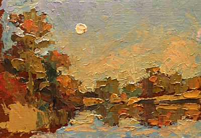 CAT# 2769b  Selden's Creek - end of day  oil 5 x 7 inches Leif Nilsson summer 2005 ©