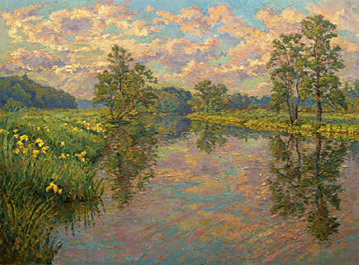 CAT# 2805  Selden's Creek with Iris - afternoon  oil 40 x 54 inches Leif Nilsson spring 2006 ©