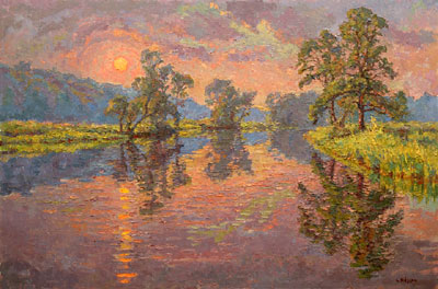 CAT# 2808  Selden's Creek - end of day  oil 36 x 54 inches Leif Nilsson summer 2006 ©