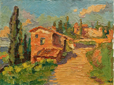 CAT# 2854 Tuscan Hill Town oil 9 x 12 Leif Nilsson spring 2007©