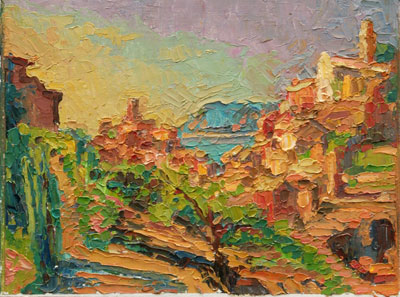 CAT# 2860 Vernazza - from the terrace oil 9 x 12 Leif Nilsson spring 2007©