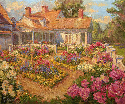 CAT# 2870  The Smith Farm with Peonies oil 30 x 36  Leif Nilsson spring 2007©
