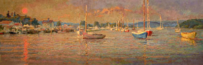 CAT# 2876 Essex from South Cove - sunset  oil 24 x 72 Leif Nilsson summer 2007©