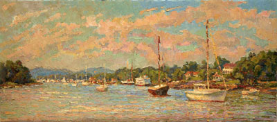 CAT# 2877  Deep River Landing with Cape Dory Motor Sailer oil 24 x 54 inches Leif Nilsson summer 2007 ©