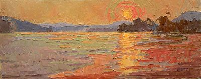 CAT# 2885  Sunset from Sea Ray Bar  oil 12 x 30 inches Leif Nilsson summer 2007 ©
