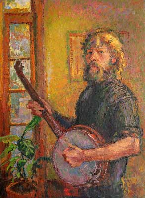 CAT# 2921 Self Portrait - with Banjo oil 40 x 30 inches Leif Nilsson winter 2008©