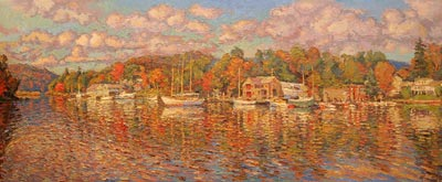 CAT# 3030  Hamburg Cove - autumn afternoon  oil	30 x 72
